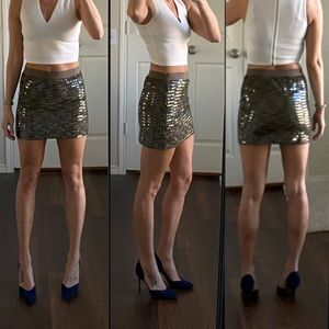 Chelsea & Violet tan gray taupe sequin skirt
